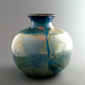 Silver Blue Glass Pot